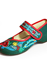Women's Shoes Fabric Flat Heel Ballerina/Round Toe Flats Wedding/Party & Evening/Casual Black/Green/Red