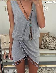 Women's Irregular Deep V Fringe Tassel Sleeveless Mini Dress (Gray)