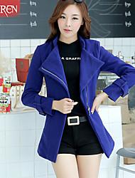Muairen®Women'S European Style Woolen Coat Jacket Zipper Oblique