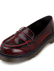 Women's Shoes Low Heel Round Toe Loafers Casual Green/Burgundy