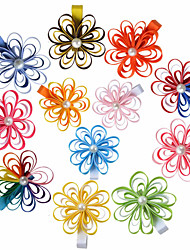 12 Pcs Hair Bows Loop Grosgrain Ribbon Flower Hair Clips Boutique Hairbows Allige Hair Clip Handwear Paryt Favors AC036