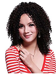 Capless Short Kinky Curly Heat Resistant Synthetic Wig Color Black