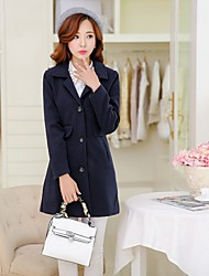 Women's Split/Ruched Coats & Jackets , Cotton Bodycon/Casual Long Sleeve B.L.S