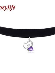 "Cozylife 3/8"" Womens Girls Black Velvet Gothic Collar Vintage Choker Necklace Sterling Sliver CZ Diamond Love Pendant"