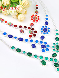 Special Shiny Malachite Mosaic Jasper Blue Turquoise Gems 925 Silver Statement Chain Neckalces For Cute PartyWork Casual