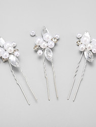 Women's Flower Girl's Rhinestone Alloy Imitation Pearl Headpiece-Wedding Special Occasion Hair Pin 3 Pieces