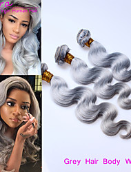 "3pcs / lot gris trama del pelo onda del cuerpo 14 ""-20"" cabello humano extensiones de cabello gris pelo humano malasio natural de teje"