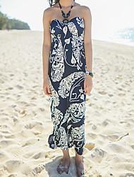 Women's Straps Flower/Backless Dresses , Cotton Blend Sexy/Beach/Print Sleeveless RIVA