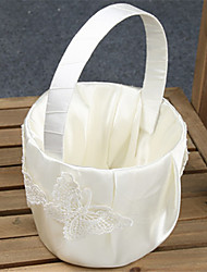 White Ribbon  Butterfly Flower Basket With Lace Flower Girl Basket