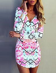 Dominic Women's Print Multi-color Dresses , Bodycon / Casual V-Neck Long Sleeve