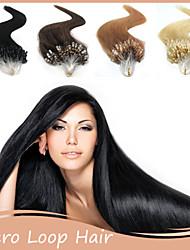 """1pc / lot 18 """"-22"""" peruanische Haarverlängerung Mikroring-Menschenhaarverlängerung 0.5g / Strang Verlängerung des geraden Haares"""