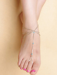 moda feminina de dança yoga simples borla multicamadas tornozeleiras de cristal cadeia