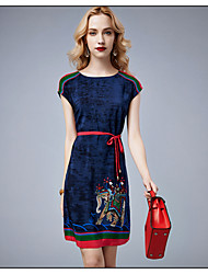 2015 Best selling High Quality Silk Dress Fashion Female Summer Retro Silk Short-Sleeved Round Neck Slim Lacing Dress