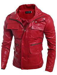 Men's Cool Casual Long Sleeve Leather Coat