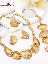 Westernrain Wedding Jewelry Sets high quality 24K Real Gold Plated Ring Earring/Bracelet/Necklace Sets For Wedding