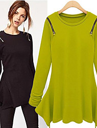 DUO.L Women's Patchwork Black / Green Dresses , Sexy / Casual / Work Round Long Sleeve