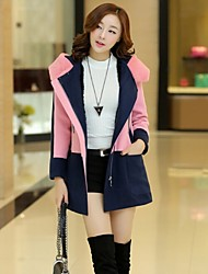Women's Button/Ruched Coats & Jackets , Nylon Bodycon/Casual Long Sleeve B.L.S