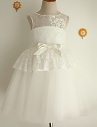 Princess Knee-length Flower Girl Dress - Lace Tulle Jewel with Bow(s) Sash / Ribbon