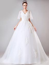 Ball Gown Wedding Dress - White Chapel Train V-neck Tulle