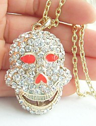 Holy Skull Necklace Pendant With Clear Rhinestone crystals