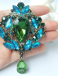 3.54 Inch Gold-tone Turquoise Green Rhinestone Crystal Drop Flower Brooch Pendant Art Deco