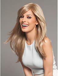 High Quality Light  Blonde Syntheic Wigs Extensions Medium Silky  Straight Wave Wig