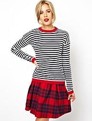 Camisetas ( Algodón )- Bodycon/Casual Redondo Manga Larga para Mujer