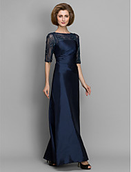 Lanting A-line / Sheath/Column Mother of the Bride Dress - Dark Navy Ankle-length Half Sleeve Lace / Taffeta