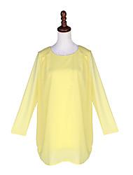 Damen Bluse  -  Mehrschichtig Mikrofaser Langarm Rundhalsausschnitt