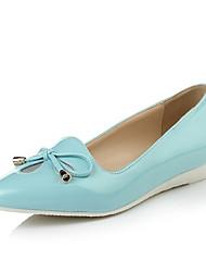 Calçados Femininos - Saltos - Bico Fino - Anabela - Azul / Branco - Couro Envernizado - Social