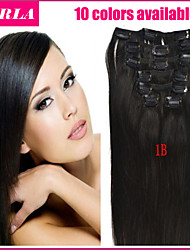 20-26inch (10pcs) / set cheveux brésilienne vierge 10 couleurs trames doubles clip dans pince droite dans les extensions de cheveux
