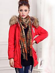 Women's Winter Fleece Lining Fur Hoodies Long Sleeve Parka Coat with Pocket
