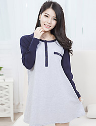 Vestido de maternidad Mini Algodón - Escote Redondo Manga Larga