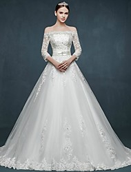 Ball Gown Wedding Dress - White Court Train Off-the-shoulder Tulle