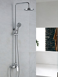 Contemporary Shower System Rain Shower Handshower Included with  Ceramic Valve Single Handle Two Holes for  Chrome , Shower Faucet