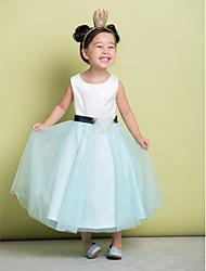 A-line Ankle-length Flower Girl Dress - Satin/Tulle Sleeveless