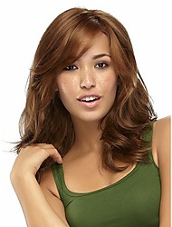 Natural Light Brown wavy Short Hair Wigs with Side Bang