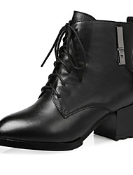 Women's Shoes Leather Chunky Heel Combat Boots Boots Outdoor/Party & Evening/Casual Black/Burgundy