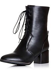 Zapatos de mujer Semicuero Tacón Robusto Botas de Moto Botas Casual Negro/Rojo