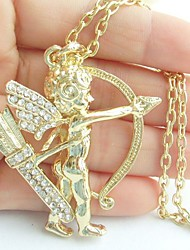 Charming Archer Necklace Pendant With Clear Rhinestone Crystals