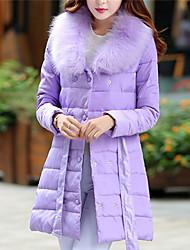 Women's White/Black/Green/Purple Parka Coat , Casual Long Sleeve