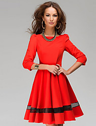Women's Fashion Solid O-Neck Pleated Dress