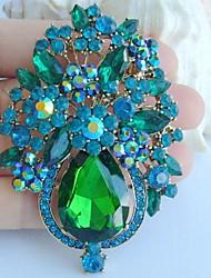 Gorgeous 3.15 Inch Gold-tone Blue Green Rhinestone Crystal Flower Brooch Pendant