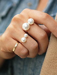 Women Fashion Simple Pearl Joint Ring Adjustable Size Ring