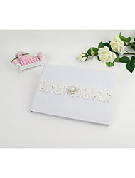 White Guest Book With Lace Flower