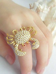 Luxury Cocktail Crab Ring With Clear Rhinestone Crystal