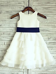 A-Line Knee Length Flower Girl Dress - Chiffon Satin Sleeveless Scoop Neck with Ribbon by thstylee