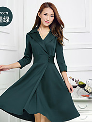 Women's Tailored Collar Dresses , Polyester Casual/Work ¾ Sleeve Morefeel