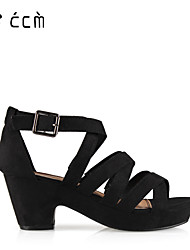 Women's Shoes Chunky Heel Platform/Gladiator/Ankle Strap Sandals Office & Career/Party & Evening/Casual Black Shoes