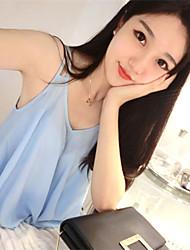 Women's Solid Blue/White/Black Blouse Sleeveless